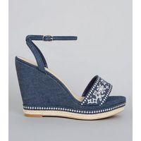 Blue Denim Floral Embroidered Wedge Heels