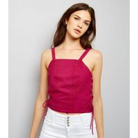 Deep Pink Lace Side Crop Top