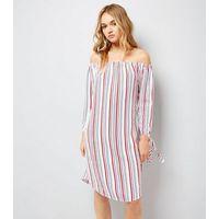 Tall White Stripe Bardot Dress