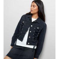 Petite Black Lace Up Front Denim Jacket