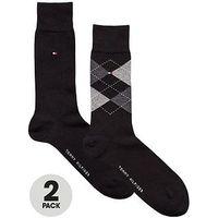 Tommy Hilfiger 2pk Argyle/plain sock, Black, Size 6-8, Men