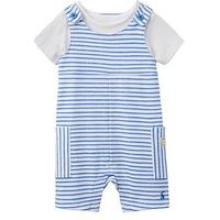 Joules 2 piece Jersey Dungaree Outfit, Blue/White, Size 9-12 Months