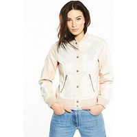 V by Very PU PERFORATED VARSITY JACKET, Cream/Pink, Size 8, Women
