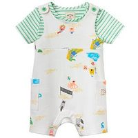 Joules Boys Duncan Jersey Dungaree Outfit, White, Size 3-6 Months
