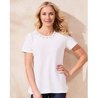 Ivory Embellished Textured Shell Top