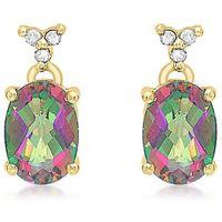 9Ct Gold Mystic Topaz & Diamond Drop