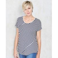 Navy Contrast Stripe Slouch Top