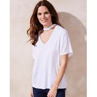 White Choker Neck Slouch Top