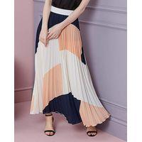Colour Block Pleat Maxi Skirt