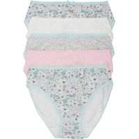 Ladies Everyday Assorted floral Print Classic High Leg Brief Multipack - 5 Pairs  - Mint