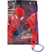 Spiderman boys character print waterproof material drawstring swim bag  - Multicolour