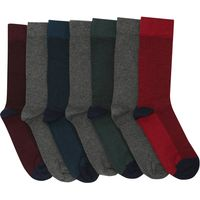 Mens Soft Pure Cotton Plain Textured everyday assorted colour ankle socks - 7 pack  - Multicolour