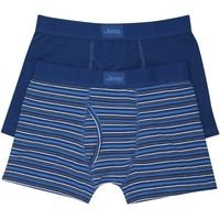 Jeep mens stripe and plain cotton stretch jersey fitted keyhole fly trunks two pack  - Navy