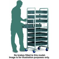 Barton Storage Topstore 8 Tier Euro Container Tray Trolley with 8 22 Litre Containers