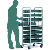 Barton Storage Topstore Braked 8 Tier Euro Container Tray Trolley with 8 22 Litre Containers