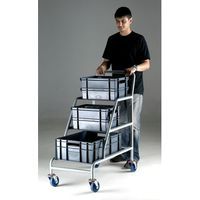 Machine Mart Xtra Topstore ACT/3XEC Unbraked Angled Container Trolley With 3 Grey Euro Containers