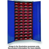 Barton Storage Topstore 013059 6 Shelf Cabinet with 52 TC4 Blue Containers