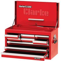 Clarke Clarke CBB209DF 26 9 Drawer Tool Chest with Front Cover - Red