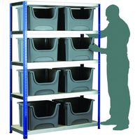 Machine Mart Xtra Barton Storage Eco-Rax Shelving Unit With 8 Space Bin Containers