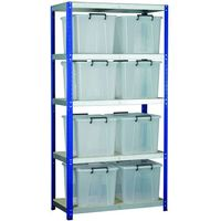 Machine Mart Xtra Barton Storage Eco-Rax Shelving Unit With Eight 40 Litre Storemaster Containers