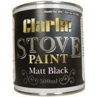 Clarke Clarke SP5 Heat Resistant Stove Paint - Matt Black (500ml)