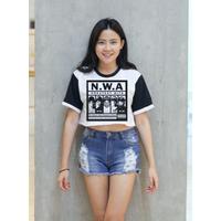 N.W.A Hip Hop Mini Baseball T-Shirt Women Crop Top Shirt Size S M L