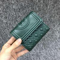 TORY BURCH Green Tory Burch Fleming Mini Flap Wallet