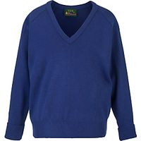 Plain Unisex School V-Neck Acrylic Jumper, Royal Blue