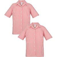 School Girls Short Sleeve Blouse, Pack of 2, Red/White