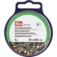 Prym Straight Glass-Headed Pins, 0.60 x 30 mm, 9G Tub