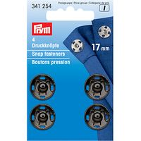 Prym Sew-On Metal Snap Fasteners, 17mm, Pack of 4, Black