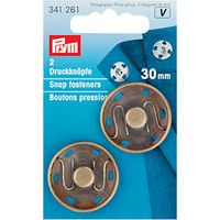 Prym Sew-On Snap Fasteners, 30mm, Pack of 2, Antique Brass