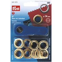 Prym Metal Eyelets and Washers, 14mm, Pack of 10, Gold