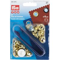 Prym Brass Eyelets and Washers, 8mm, Silver, Pack of 24