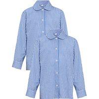 Girls Long Sleeve Blouse, Pack of 2, Royal Blue/White