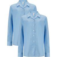 Girls Long Sleeve Blouse, Pack of 2, Light Blue