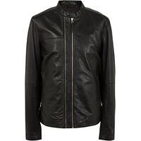 Pretty Green Addison Leather Biker Jacket, Black