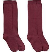 Ashfold School Knee-Length Socks, Pack of 2, Maroon