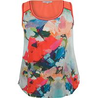 Chesca Contrast Print Top, Sky / Coral