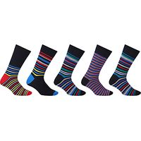 John Lewis Multi Stripe Socks, Pack of 5, Multi
