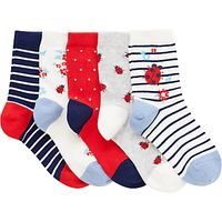 John Lewis Children's Ladybird Socks, Pack of 5, Red/Blue