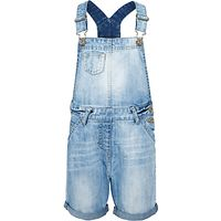 John Lewis Girls Denim Bib Shorts, Blue