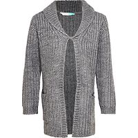 John Lewis Girls' Long Lined Cardigan, Grey