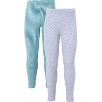 John Lewis Girls' Leggings, Pack of 2, Blue/Grey