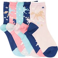 John Lewis Children's Unicorn Socks, Pack of 5, Multi