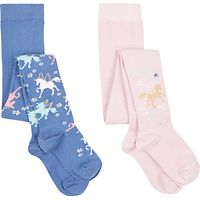 John Lewis Girls' Unicorn Tights, Pack of 2, Blue/Pink