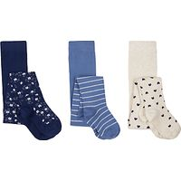 John Lewis Girls' Pattern Tights, Pack of 3, Blue
