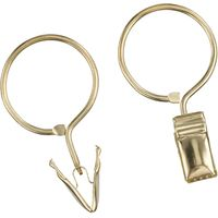 Rufflette Ring Clip Hooks, Pack of 10, Brass