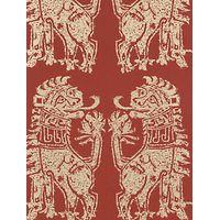 Sanderson Sicilian Lions Wallpaper, DVIWSI103, Red / Gold