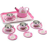 John Lewis Toy Rose Tin Tea Set